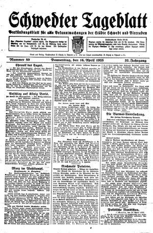 Schwedter Tageblatt vom 16.04.1925