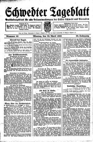 Schwedter Tageblatt vom 20.04.1925