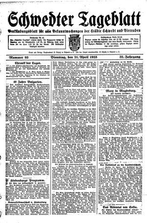 Schwedter Tageblatt vom 21.04.1925