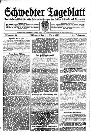 Schwedter Tageblatt vom 22.04.1925