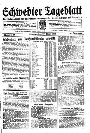 Schwedter Tageblatt vom 27.04.1925