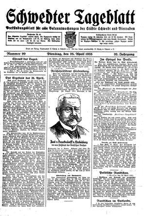 Schwedter Tageblatt vom 28.04.1925