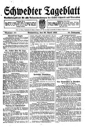 Schwedter Tageblatt vom 30.04.1925