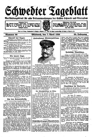 Schwedter Tageblatt vom 07.04.1926
