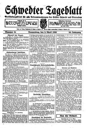 Schwedter Tageblatt vom 08.04.1926