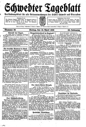 Schwedter Tageblatt vom 16.04.1926