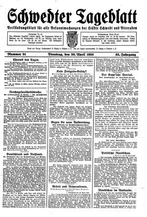 Schwedter Tageblatt vom 20.04.1926