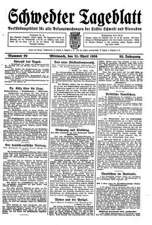 Schwedter Tageblatt vom 21.04.1926