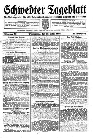 Schwedter Tageblatt vom 22.04.1926