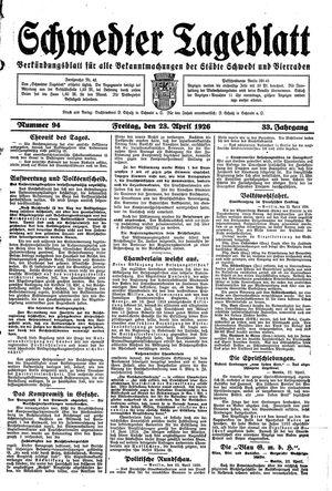 Schwedter Tageblatt vom 23.04.1926