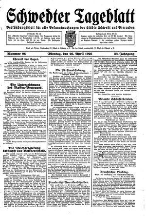 Schwedter Tageblatt vom 26.04.1926
