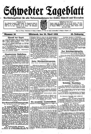 Schwedter Tageblatt vom 28.04.1926