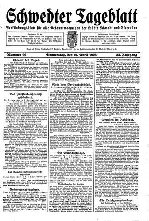 Schwedter Tageblatt vom 29.04.1926