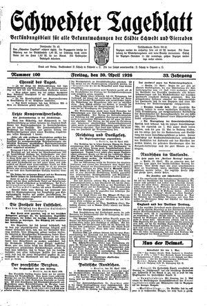 Schwedter Tageblatt vom 30.04.1926