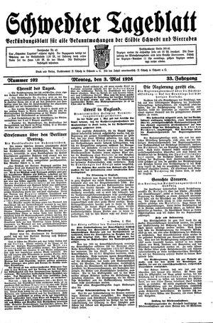Schwedter Tageblatt vom 03.05.1926