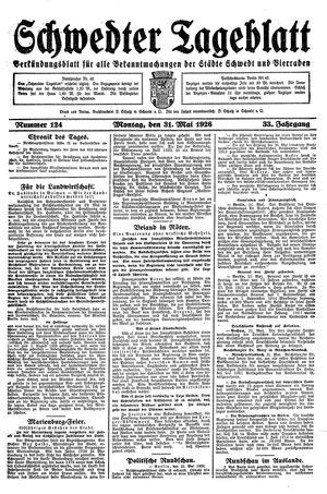 Schwedter Tageblatt vom 31.05.1926
