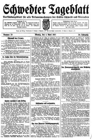 Schwedter Tageblatt vom 04.04.1927