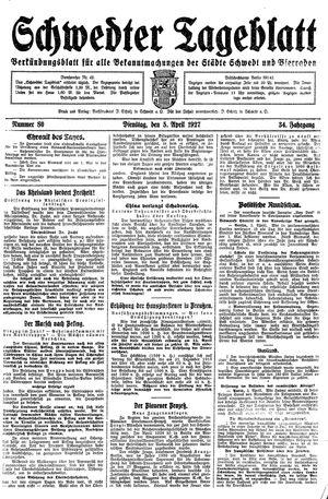 Schwedter Tageblatt vom 05.04.1927