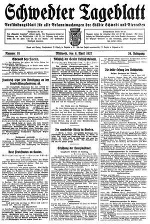 Schwedter Tageblatt vom 06.04.1927