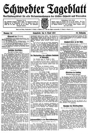 Schwedter Tageblatt vom 09.04.1927