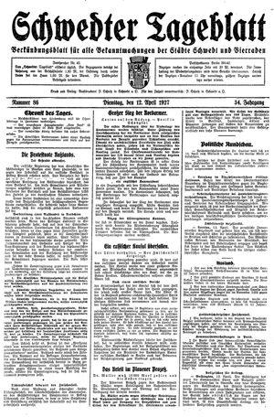 Schwedter Tageblatt vom 12.04.1927