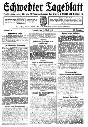 Schwedter Tageblatt vom 19.04.1927