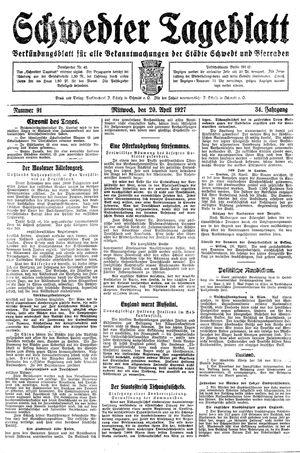 Schwedter Tageblatt vom 20.04.1927