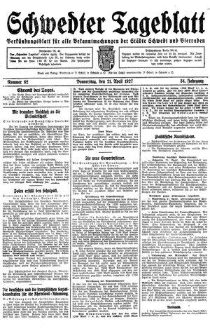 Schwedter Tageblatt vom 21.04.1927