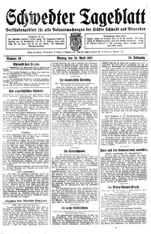 Schwedter Tageblatt vom 25.04.1927
