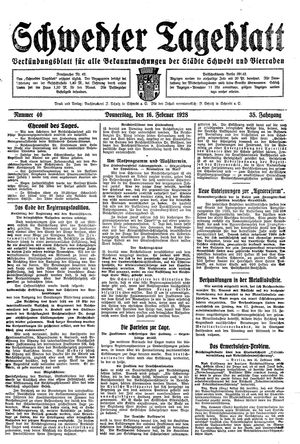 Schwedter Tageblatt vom 16.02.1928