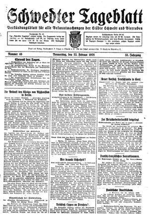 Schwedter Tageblatt vom 23.02.1928
