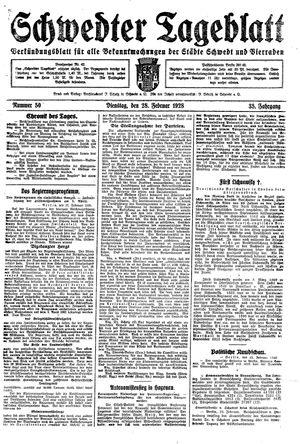 Schwedter Tageblatt vom 28.02.1928