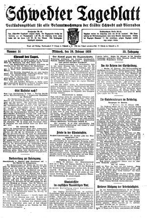 Schwedter Tageblatt vom 29.02.1928