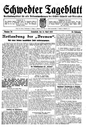 Schwedter Tageblatt vom 14.04.1928