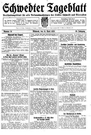 Schwedter Tageblatt vom 18.04.1928