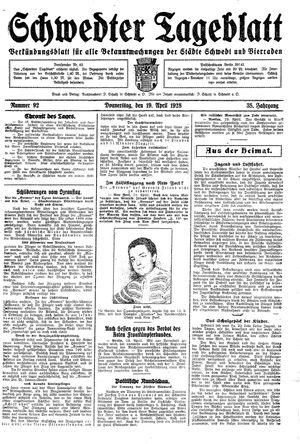 Schwedter Tageblatt vom 19.04.1928