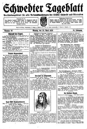 Schwedter Tageblatt vom 23.04.1928