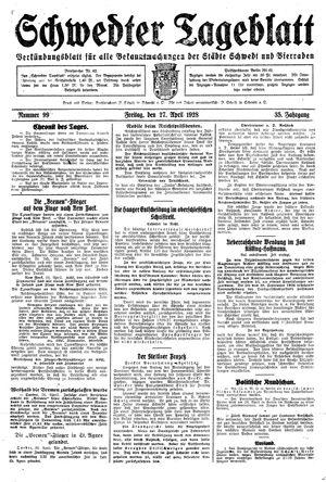 Schwedter Tageblatt vom 27.04.1928