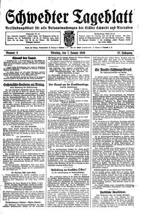 Schwedter Tageblatt vom 07.01.1930