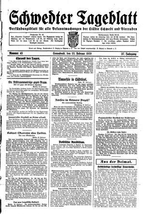 Schwedter Tageblatt vom 22.02.1930