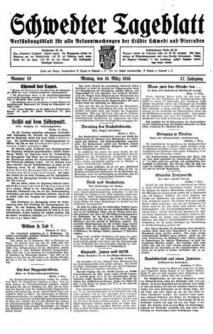 Schwedter Tageblatt vom 10.03.1930
