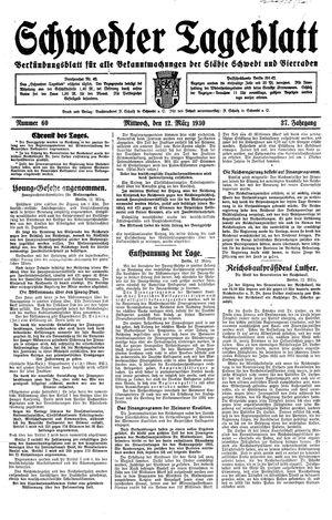 Schwedter Tageblatt vom 12.03.1930