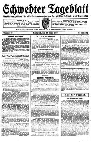 Schwedter Tageblatt vom 22.03.1930