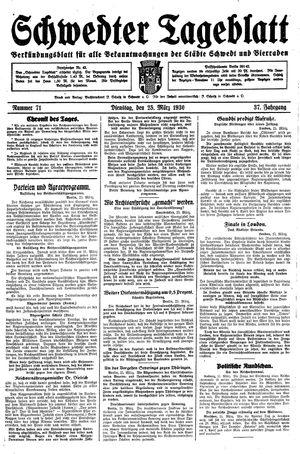 Schwedter Tageblatt vom 25.03.1930