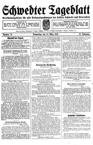 Schwedter Tageblatt vom 27.03.1930