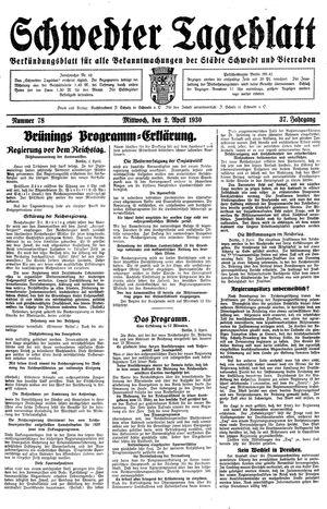 Schwedter Tageblatt vom 02.04.1930
