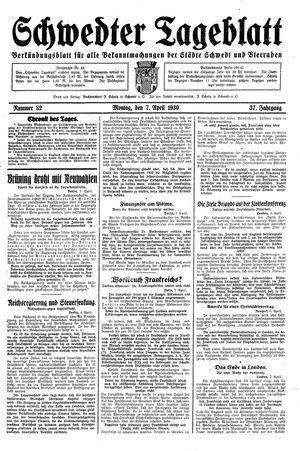 Schwedter Tageblatt vom 07.04.1930
