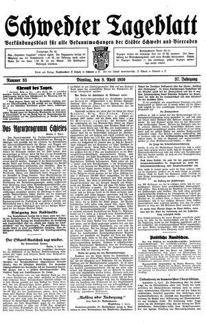 Schwedter Tageblatt vom 08.04.1930