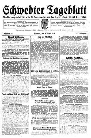 Schwedter Tageblatt vom 09.04.1930