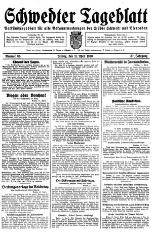 Schwedter Tageblatt on Apr 11, 1930